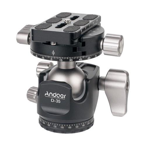 Andoer D-35 Low Profile Doppelpanoramakopf CNC-Bearbeitung Stativkopf aus Aluminiumlegierung mit Kugelkopf