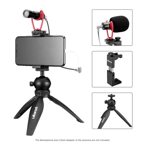 ulanzi Smartphone Video Kit 3 Including Mini Desktop Tripod + Metal Phone Holder with Cold Shoe Mount + Video Microphone