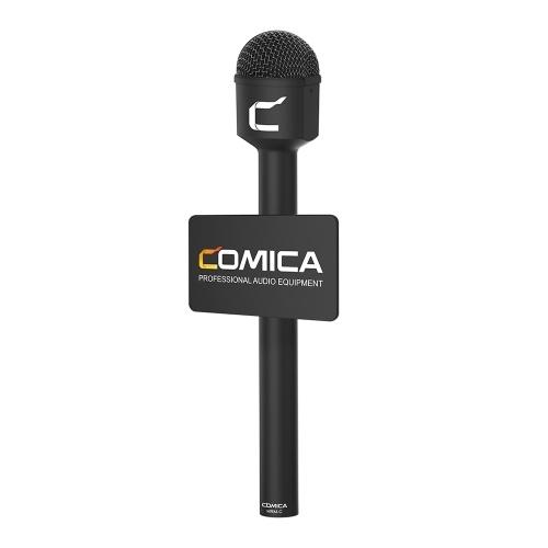 COMICA HRM-C Microfone dinâmico portátil com saída XLR omnidirecional para apresentação de entrevista com repórter preto