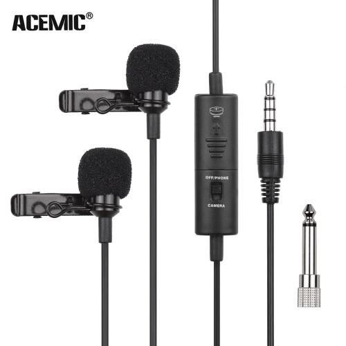 ACEMIC Omnidirektionaler Kondensator Lavalier Mikrofon Ansteckmikrofon Doppelkopf 3,5 mm TRRS mit 6,35 mm Adapter