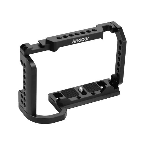 Andoer Videokamera-Käfig aus Aluminiumlegierung mit 1/4-Zoll-Schraubenlöchern für die Kaltschuhhalterung, kompatibel mit Nikon Z6 / Z7