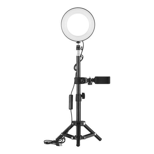 ZOMEI Desktop portátil de 6 polegadas Selfie LED Ring Light 3000-6000K 3 modos de luz Brilho regulável