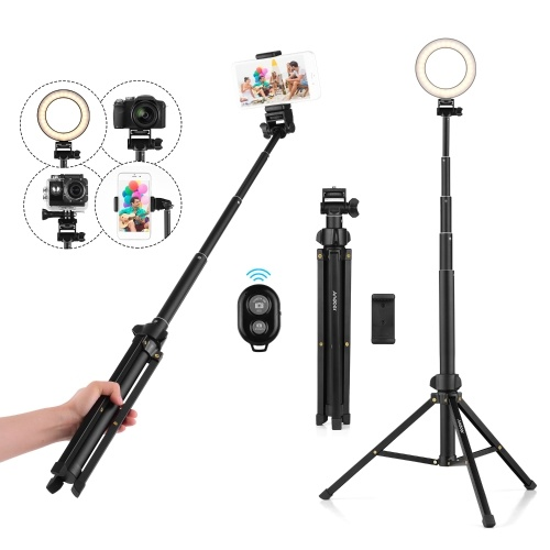 Andoer 1.5m/59in 2-in-1 Tripod Stand + Extendable Selfie Stick Aluminum Alloy with Phone Holder Remote Shutter Compatible with iPhone Android Phones for Selfie Group Photo Live Streaming