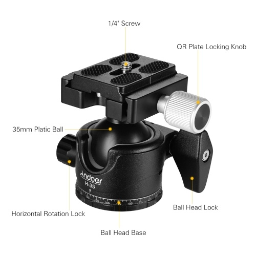 Andoer H-35 Panorama Tripod Ball Head Ballhead Mount Adapter U-Groove Low Gravity Center Design Aluminium Alloy Max. 15kg/33lbs Load Capacity with Carry Bag
