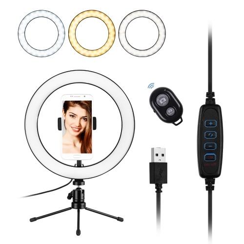 10 pouces LED anneau lumière photographie lampe d'appoint 3 modes d'éclairage Dimmable alimenté par USB