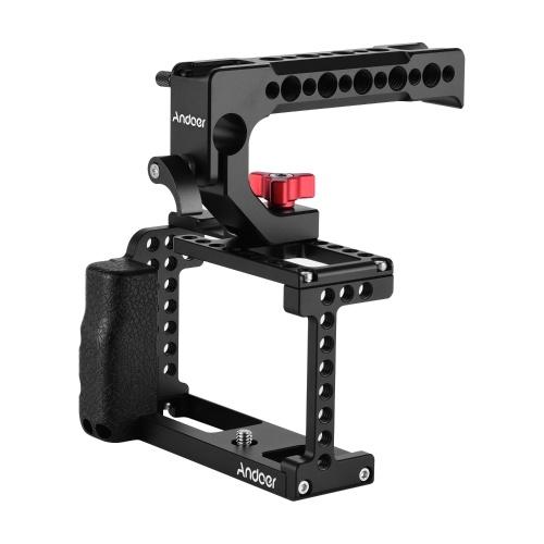 Andoer Camera Cage Video Stabilizer + Kit de manija superior Aleación de aluminio