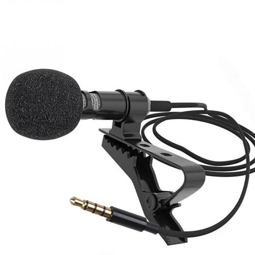 Mini Clip-on Lavalier Microphone Lapel Condenser Mic 3.5mm Plug