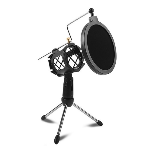 Mini Desktop Microphone Tripod Stand with Shock Mount Mic Holder Pop Filter