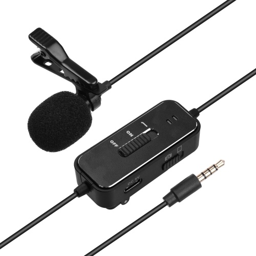 Lavalier Microphone Omnidirectional Condenser Mic with  3.5mm Plug  6.5mm Audio Adapter 5m Cable for Cellphone/Laptop/Camera