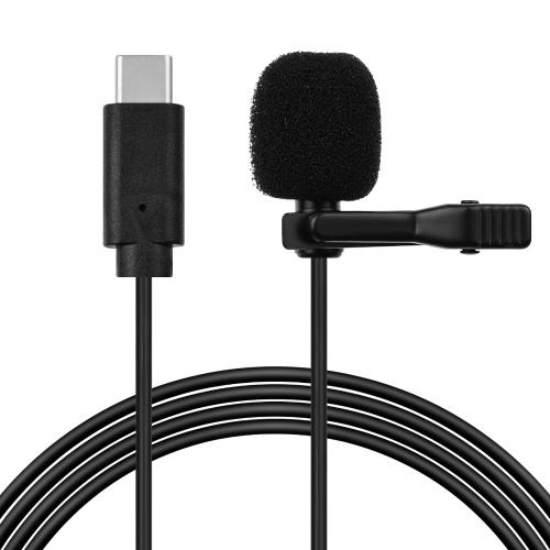 Microfone de lapela de lapela com clipe omnidirecional de cabeça única cabo de 1,5 m / 4,9 pés
