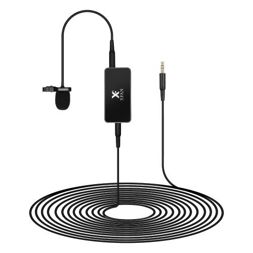 Microfone de lapela omnidirecional XFAN AIR Clip-on com fio de microfone de condensador Comprimento do cabo de 6 m