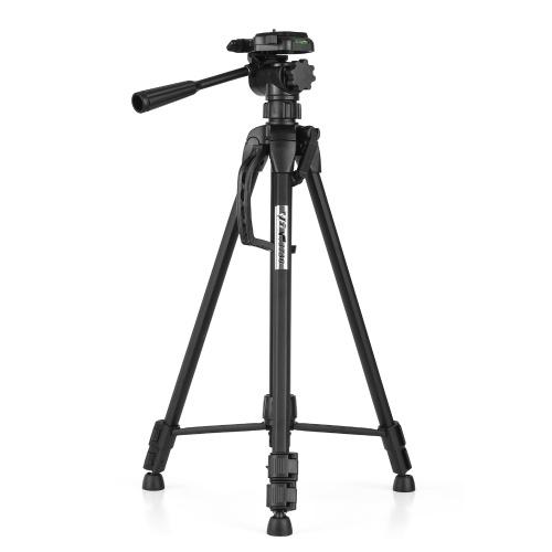 WF WT-3730 Tripé de fotografia portátil Suporte em liga de alumínio máx. Carregar 3 kg / 6,6 lbs máx. Altura 152 cm com parafuso de 1/4 polegada placa de liberação rápida bolsa de transporte para câmeras DSLR DV filmadora
