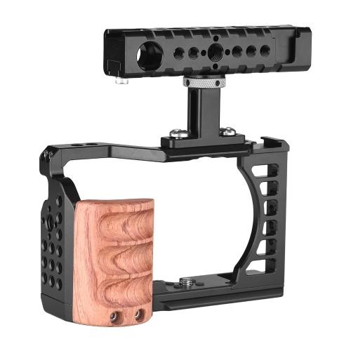 Câmera de vídeo gaiola + kit de alça superior em liga de alumínio
