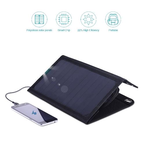 dodocool Portatile pieghevole 12W 10000mAh Dual USB Solar Charger Power Bank