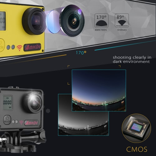 AMKOV AMK7000S 4K 10fps 1080P 60fps Full HD 170°Wide Angle Action Camera