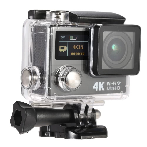 2 Inch Dual Screen LCD Ultra HD Wifi Sports Action Camera 4K 15fps 1080P 60fps 12MP 170° Wide-angle for HD Output Waterproof 30m Cam Car DVR FPV