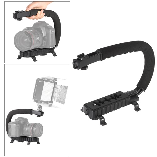 C-Shaped Video Camera Handheld Handle Grip Stabilizer Bracket Support System for Sony Canon Nikon DSLR Camera Camcorder DV LED Lights