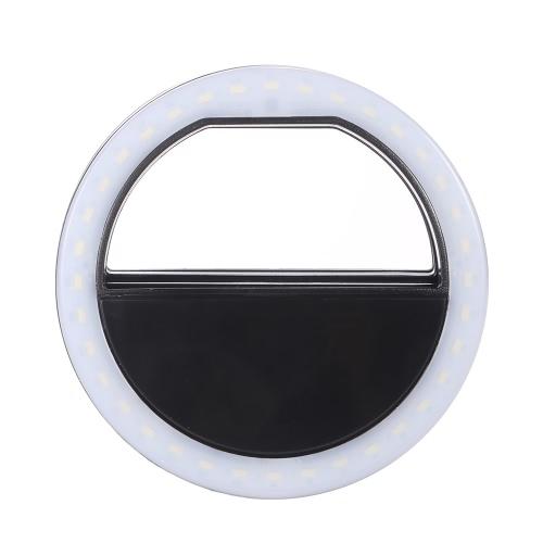 Portable Clip-on Mini 36 LED selfie Anneau lampe Fill-in Night Light Utilisation de la lumière supplémentaire pour iPhone Samsung BlackBerry HTC Huawei LG Smartphone PC