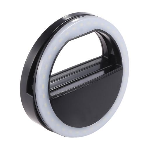 Portable Clip-on Mini LED Ring Selfie Self-portrait Supplementary Fill-in Lighting Light for iPhone Blackberry Samsung HTC Smartphone
