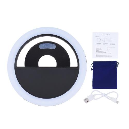 Tragbarer Mini-Clip zum Auffüllen 36 LED Selfie-Ringlichtlampe Nacht mit Zusatzbeleuchtung 3 Modi mit integriertem Akku USB-Ladegerät für iPhone 7/7 Plus / 6s / 6s Plus / 6/6 Plus