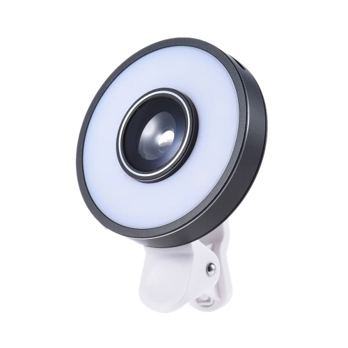 Universal Clip Mini Phone Camera Lens 12pcs LED Selfie Light Kit w/ 3 Modes Fill-in Lamp + 185 Degree Wide Angle Fisheye Lens + 10X Macro Lens Built-in Battery USB Rechargeable for iPhone 7 / 7 Plus / 6s / 6s Plus / 6 / 6 Plus for Samsung Smartphone Cellphone PC