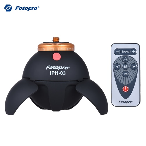 Fotopro IPH-03 360° Intelligent Electronic Panorama Head with Remote Controll 10s Time-lapse Photography for iPhone Samsung Smartphones for GoPro Action Camera for Tripod Selfie Stick