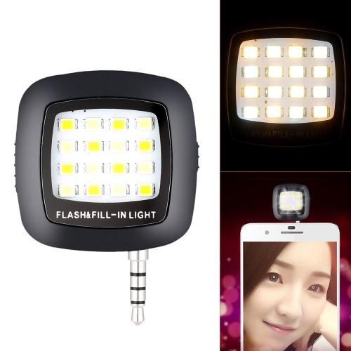 Andoer Mini Portable 16 LED flash Fill-in Night Light Utiliser selfie Self Portrait Lampe pour iPhone 6 / 6s Samsung Smartphone Huawei pour PC iPad