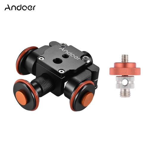 Andoer Electric Motorized Auto Camera Dolly Video Slider Skater 3-Wheel Pulley Car para Canon Nikon Sony DSLR para iPhone X 8 7 Plus 6s Smartphone para GoPro Hero 5/4/3 + / 3 Action Sports Cam