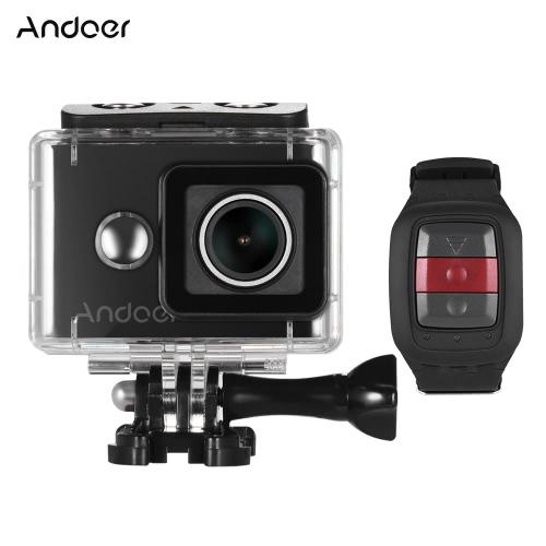 Andoer AN8000 4K / 30fps WiFi adatta la videocamera sportiva adotta per Ambarella A12 1080P / 120fps 720P / 240fps Full HD 16MP w / 2.4G telecomando senza fili subacqueo 30m 155 ° ampio angolo obiettivo 2.0