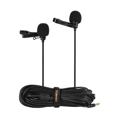 Comica CVM-D02 4.5m/14.8ft Dual-head Lavalier Lapel Microphone D4803-2B