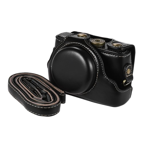 High-quality PU Leather Camera Bag Case Fullbody Cover with Adjustable Neck Strap for Sony RX100M2/ RX100M3/ RX100M4/ RX100M5 Cameras