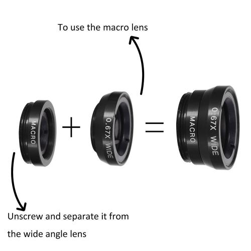 10PCS 8X Telephoto Mobile Phone Lens Universal Detachable Clip-on Lens Wide Angle + Fish Eye + Macro Lens + Selfie Stick + Tripod