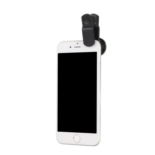 Universal Mobile Phone Lens 5 dans 1 Fish Eye Grand Angle Macro 2X Teleconvertisseur CPL Lens Détachable Clip-sur Lens Kit