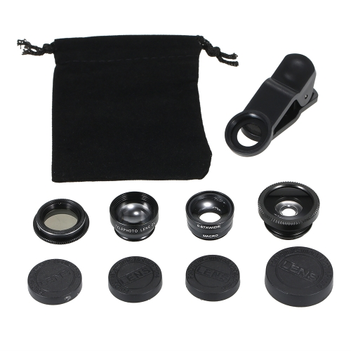 Universal Mobile Phone Lens 5 in 1 Fish Eye Wide Angle Macro 2X Teleconverter CPL Lens Detachable Clip-on Camera Lens Kit