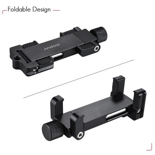 Andoer Foldable調整可能なスマートフォンメタルクリップホルダークランプブラケット