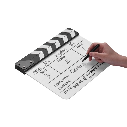 Dry Erase Acrylic Director Film Clapboard Movie TV Cut Action Scene Clapper Board Slate with Marker Pen, Color Stick, White