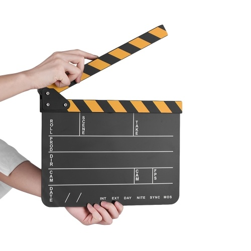 Dry Erase Acrylic Director Film Clapboard Movie TV Cut Action Scene Clapper Board Slate with Yellow/Black Stick, White