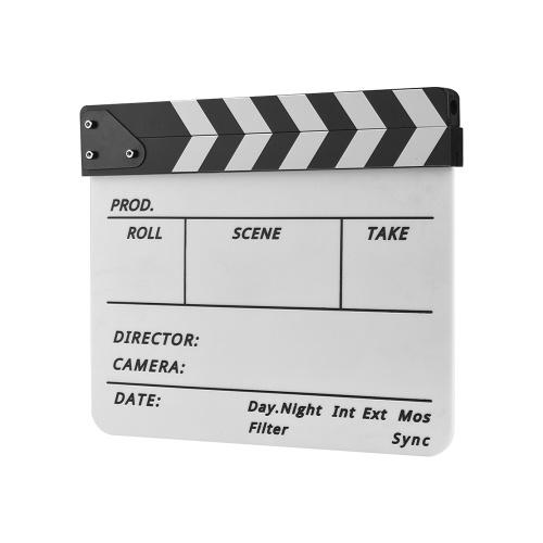 Tablilla de acrílico profesional Dry Erase TV Film Movie Director Acción de corte Scene Clapper Board Slate With Marker Pen Eraser