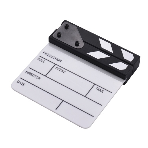 Compact Size Acrylic Clapboard Dry Erase TV Film Movie Director Cut Action Scene Clapper Board Slate