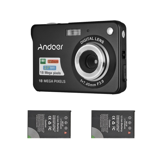 Andoer 18M 720P HD Cámara digital Videocámara con 2pcs Baterías recargables 8X Zoom digital Anti-shake 2.7 pulgadas LCD Niños Regalo de Navidad