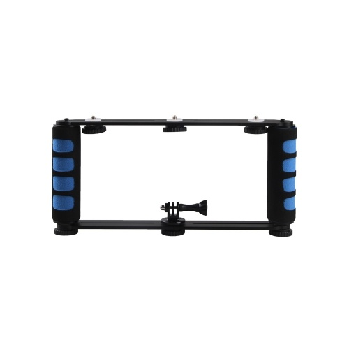 Aleación de aluminio de doble agarre de mano Selfie Stick 1/4 pulgadas montajes de tornillo Handgrip para teléfono DSLR ILDC cámara de acción negro