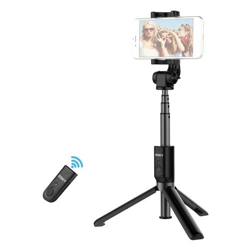 Handheld y Mini Selfie Stick Trípode Extensión de 4 secciones con controlador remoto BT Clip de teléfono de 360 grados para iPhone Smartphones con ancho de 56-90mm Xiaomi Samsung HUAWEI