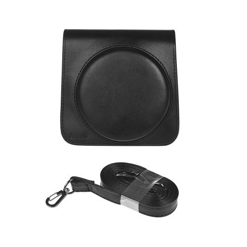 Andoer Housse de protection en cuir PU avec bandoulière réglable pour appareil photo Fujifilm Instax Square SQ6 à pellicule noire