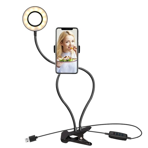 USB Interface Dimmable LED Selfie Round Light Phone Photography Video Makeup Lamp With Phone Clip Round Light