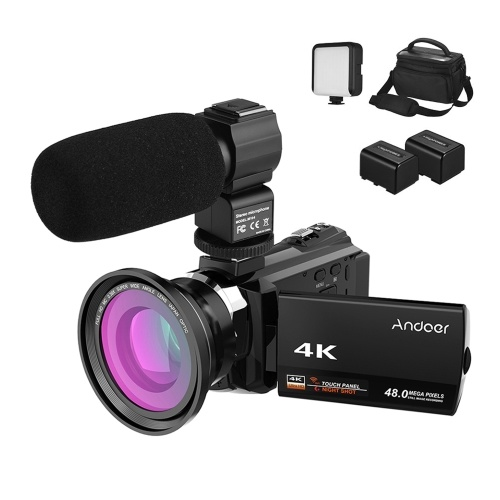 WiFi-Videokamera Andoer 4K Camcorder 1080P 48MP
