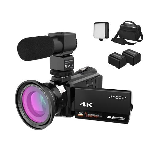Caméra vidéo numérique Andoer 4K 1080p 48MP WiFi