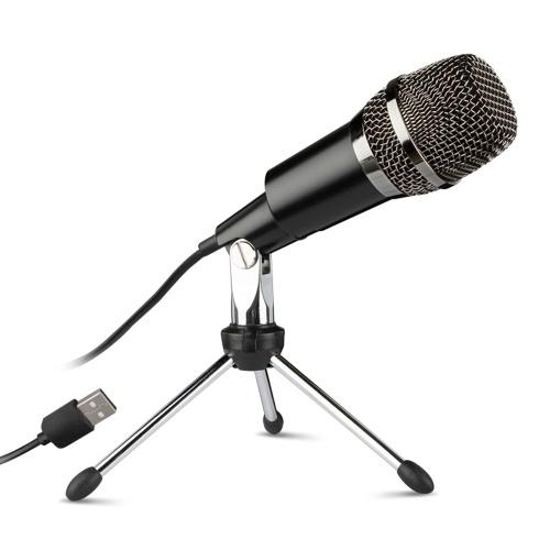 USB Accueil Microphones D'enregistrement Vocal De Bureau Mini Support De Trépied En Métal pour Pour Ordinateur Portable PC Enregistrement Chat En Ligne Chanter Podcast