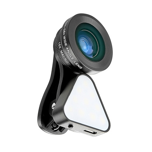 3-in-1 Clip-on Smartphone Fill Light & Phone Camera Lens Kit