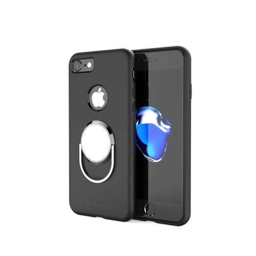 dodocool Phone Case with Universal 360 Degree Rotatable Ring Grip Stand Ultimate Protection Hard Shell for 4.7-inch iPhone 7 Black