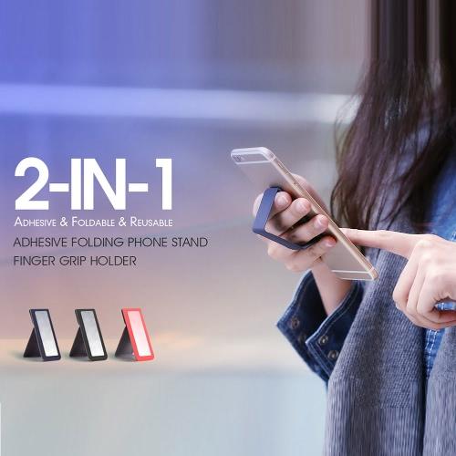 dodocool 2-in-1 Portable Universal Adhesive PU Leather Folding Phone Holder Desktop Stand Hand Finger Grip for iPhone Samsung LG HTC Smartphone Reusable Black DA48B